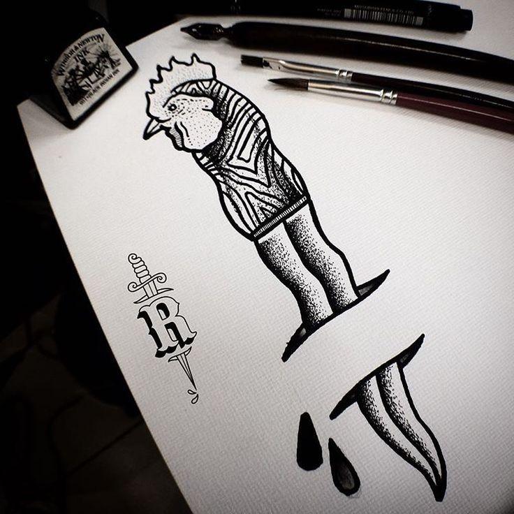 Original black-ink dagger with rooster handle tattoo design