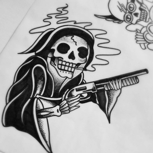 Original Black ink Old School Death With A Gun Tattoo Design Tattooimagesbiz