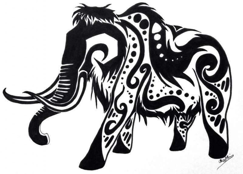 Original black-ink ornate tribal mammoth tattoo design by Shadowfang Lonewolf