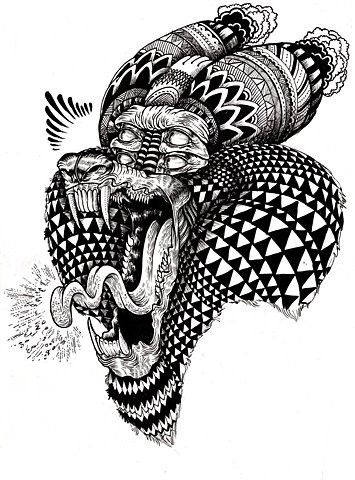 Original black-ink rich-decorated screaming baboon head tattoo design