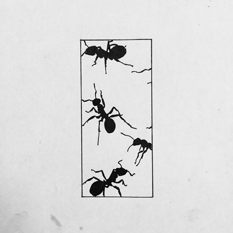 Original black ant flock crawling inside geometric figure tattoo design