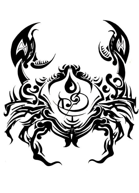 Original black crab in tribal style tattoo design by Mother Of Tears