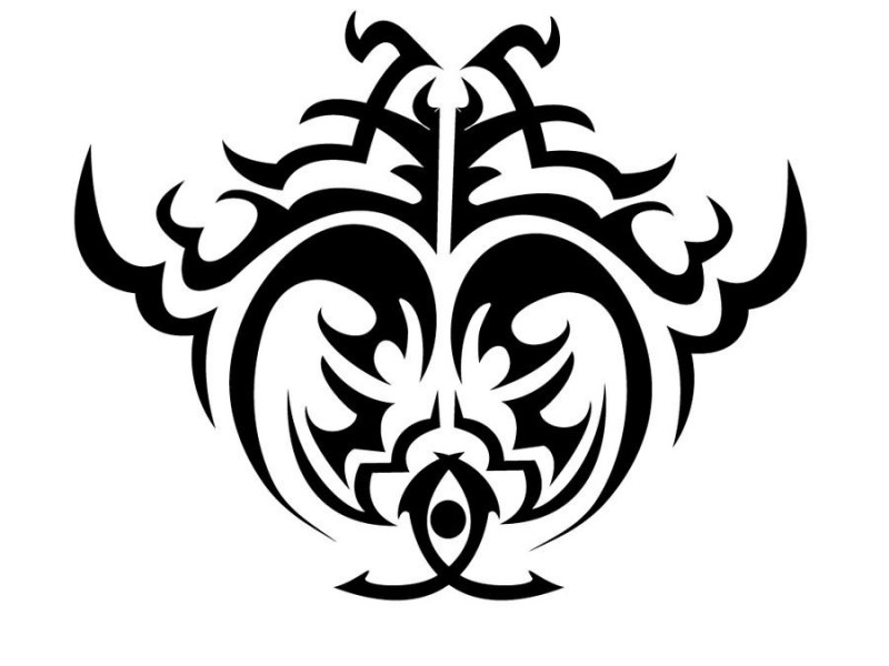 Original black tribal crab silhouette tattoo design