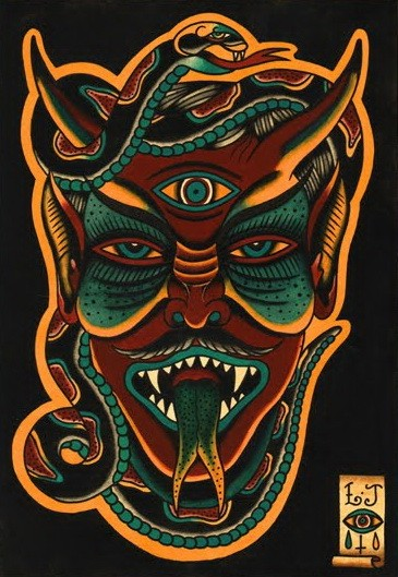 Original brown-and-turquoise devil face tattoo design