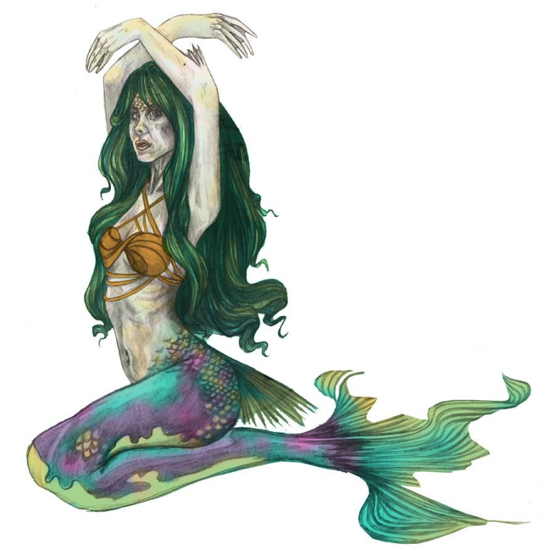Original colored mermaid with lifted hands tattoo design