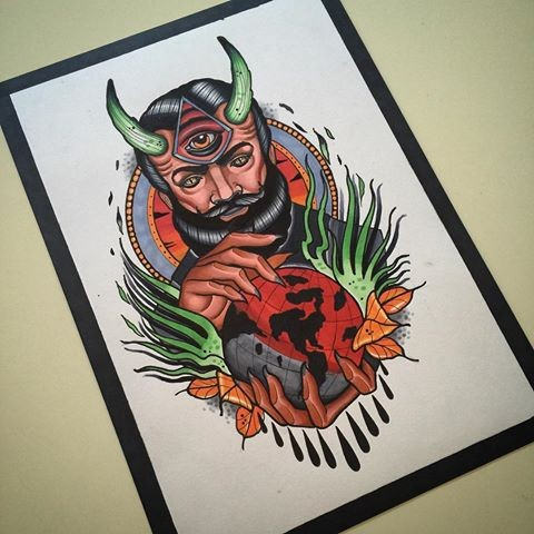 Original colorful bearded devil with green horns and a planet ball in hands tattoo design