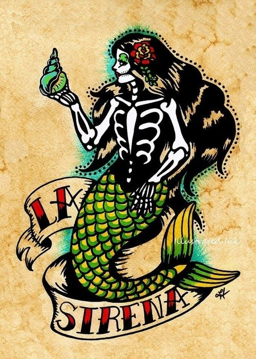 Original colorful skeleton mermaid with red-lettered banner tattoo design