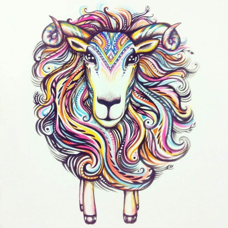 Original fluffy sheep with rainbow fur tattoo design