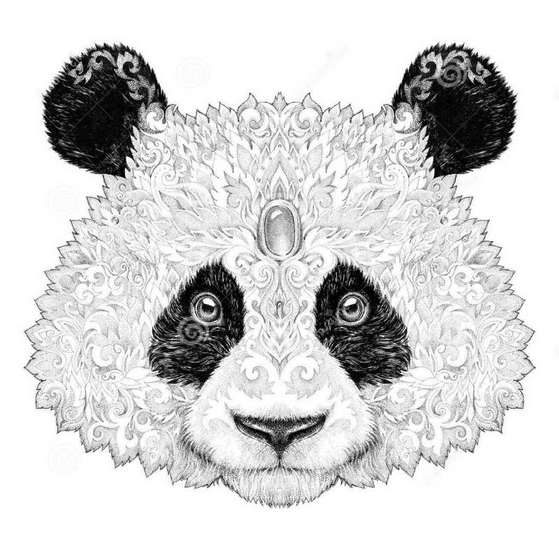 Original fur panda with gem decoration on forehead tattoo design