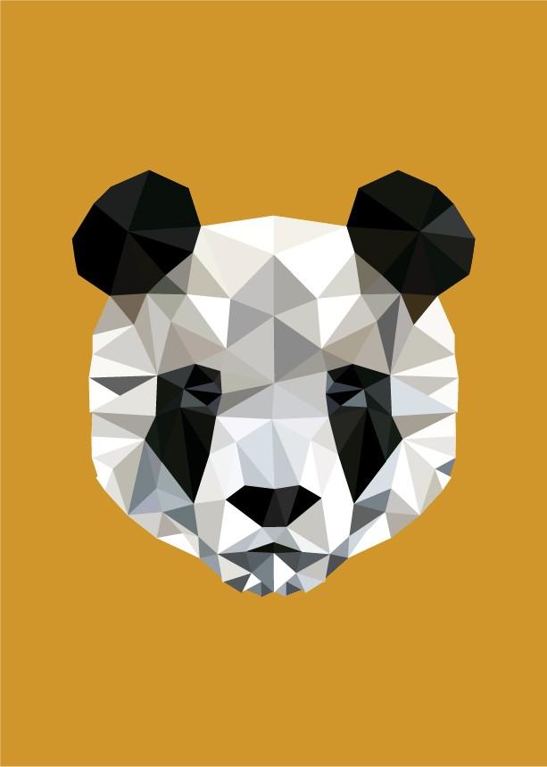 Original geometric panda portrait tattoo design