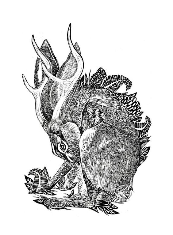 Original grey-ink curled horned hare on herbal background tattoo design