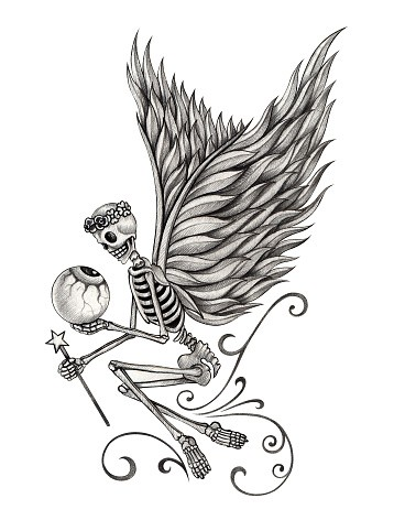 Original grey-ink fairy skeleton in a wreath admires her skull lover tattoo design