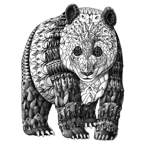 Original grey-ink panda bear in decorated armour tattoo design