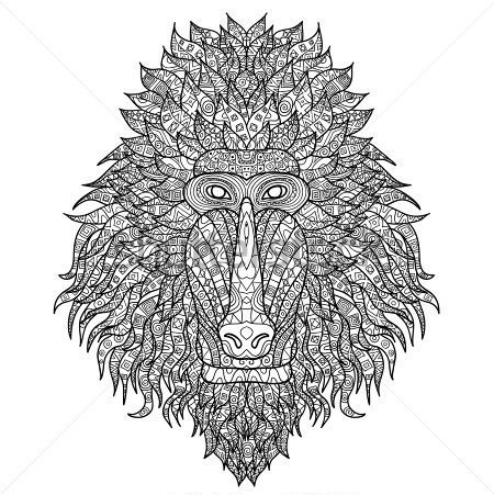 Original grey-ink patterned baboon muzzle tattoo design