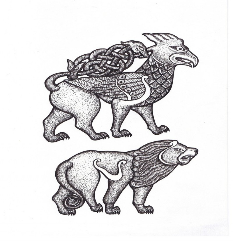 Original grey ornamented griffin tattoo design by Oengusmacfergusa