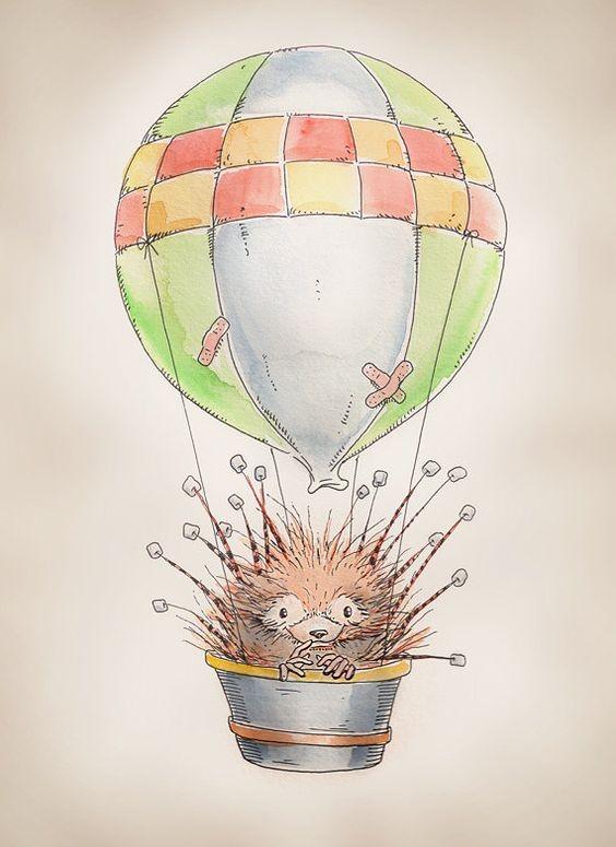 Original hedgehog flying in busket with huge balloon tattoo design