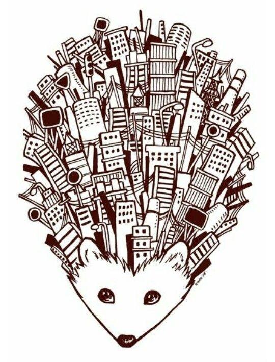 Original hedgehog with whole city on back tattoo design