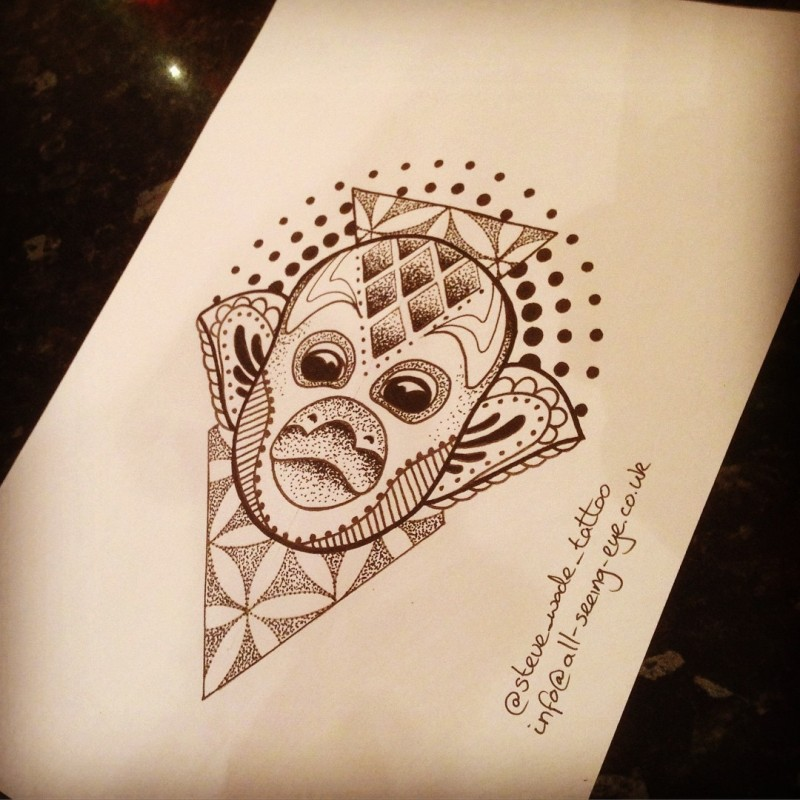 Original monkey face with flower of life and dot patterns tattoo design