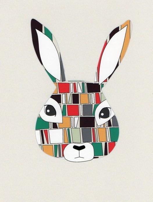 Original multicolor square-patterned hare face tattoo design