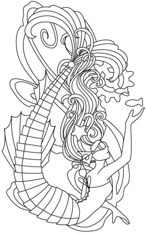 Original outline steampunk mermaid in glasses tattoo design