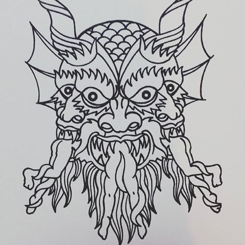 Original outline three-headed devil with tongues from human legs tattoo design