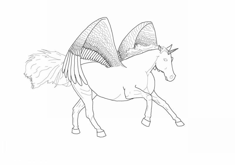 Original pencilwork colorless walking pegasus tattoo design by Dragon Girl 76