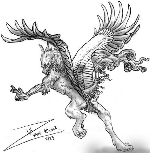 Original pencilwork flying griffin tattoo design
