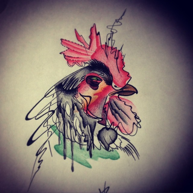 Original suspicious watercolor rooster head tattoo design