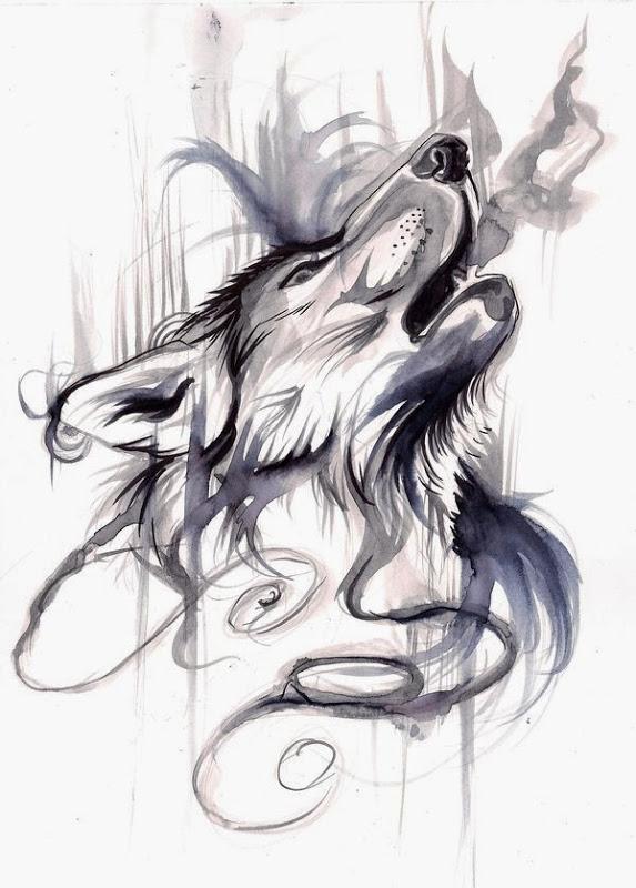 Original swirly wolf breathing with smoke tattoo design by Lucky978