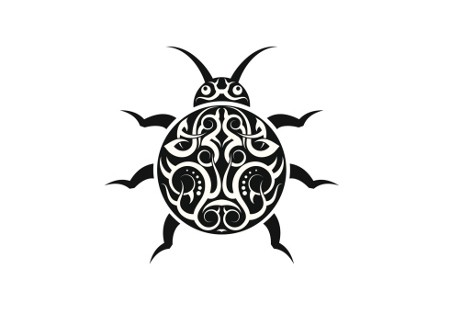 Original tribal ladybug tattoo design