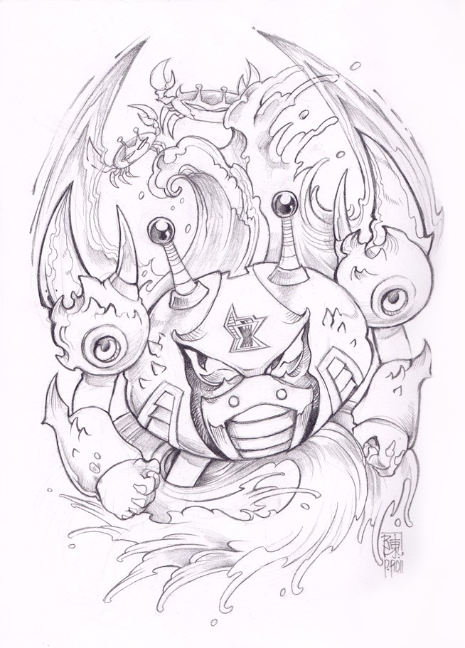 Original uncolored crab robot swimming in stormy waves tattoo design