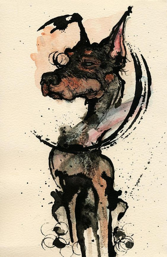 Original watercolor doberman dog tattoo design