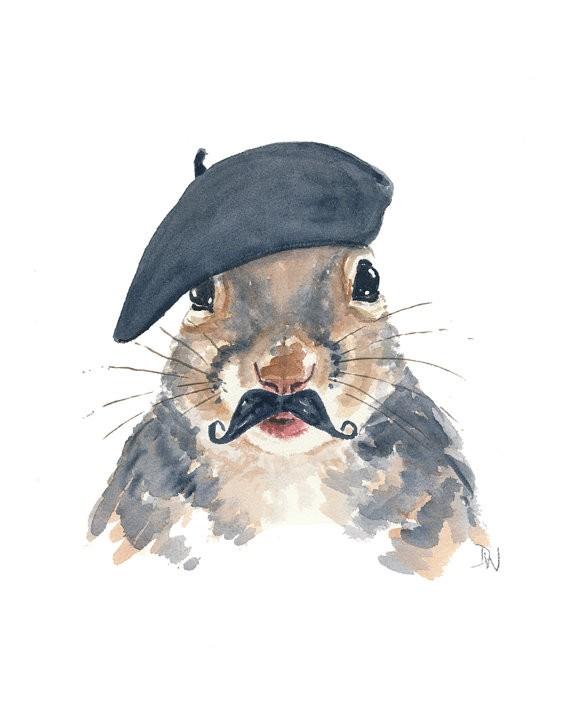 Original watercolor squirrel portrait in black beret tattoo design
