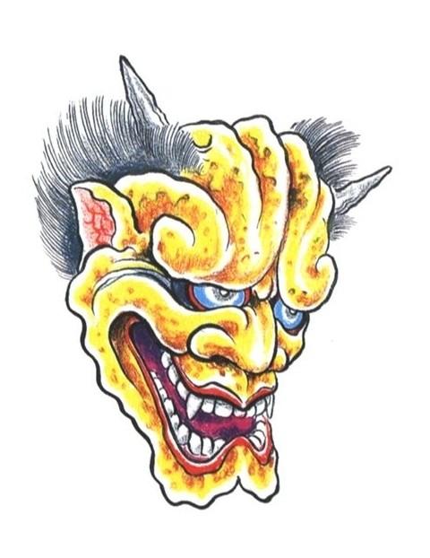 Original yellow-skin devil with grey hair tattoo design