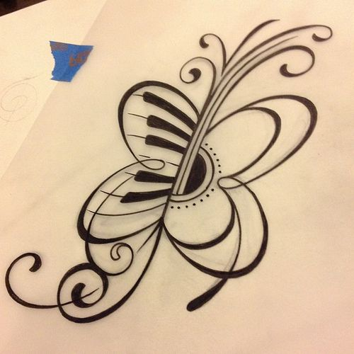 Originam half-piano half-guitar butterfly tattoo design