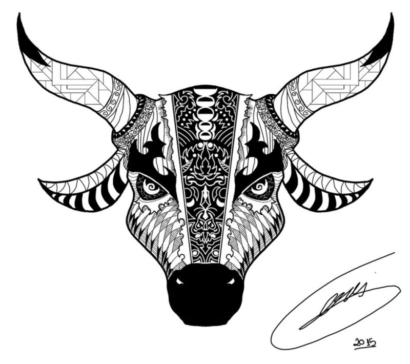 Ornamented bull head tattoo design by Stevangois