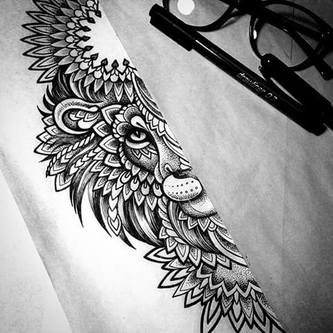 ornamented half lion muzzle with mandala nimbus tattoo design. Black Bedroom Furniture Sets. Home Design Ideas