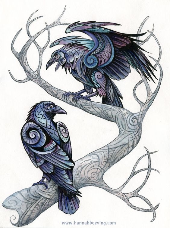 Ornamented raven couple sitting on tree branches tattoo design
