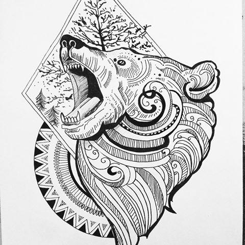Ornate bear head on geometric circle and framed tree background tattoo design