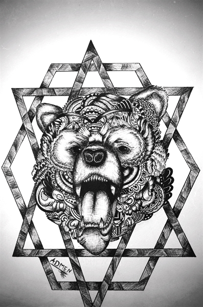 ornate bear head tattoo design on geometric figures by darya admen. Black Bedroom Furniture Sets. Home Design Ideas