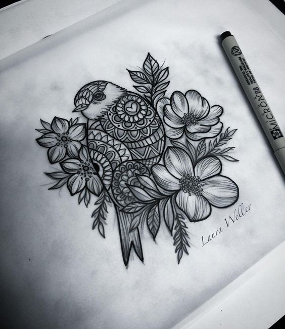 Ornate sparrow surrounded with flowers tattoo design