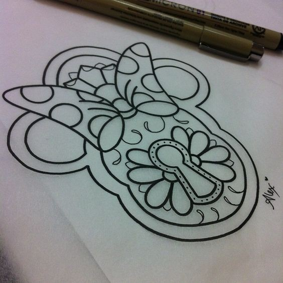 Outline Mickey Mouse locker with key hole tattoo design
