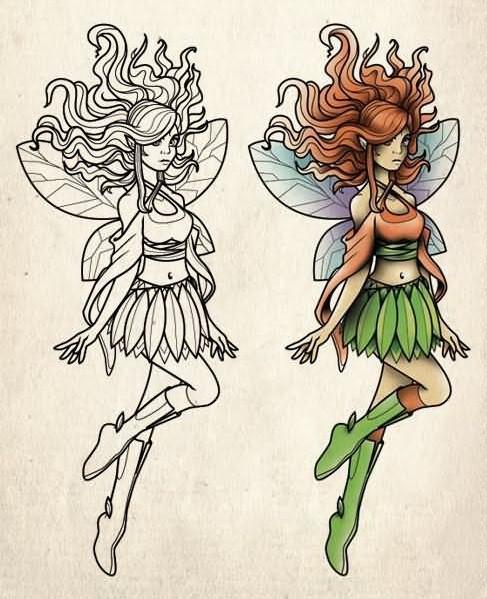 Outline and colorful cartoon fairy tattoo design
