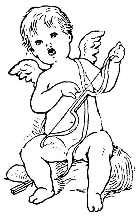 Outline angel child playing on a bow tattoo design