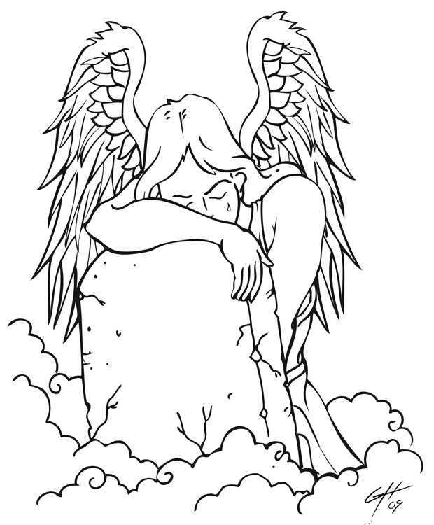 Outline angel crying at the tomb tattoo design
