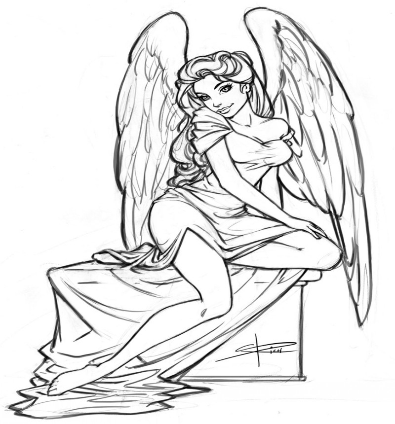 Outline animated flirting angel girl tattoo design