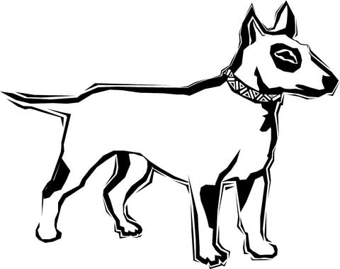 Outline bull terrier dog with geometric collar tattoo design