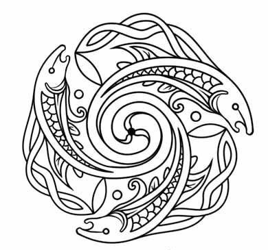 Outline celtic water animal emblem tattoo design