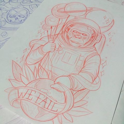 Outline chimpanzee astronaut with balloones and leaves decorations tattoo design