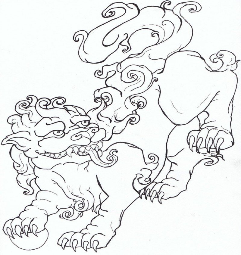 Outline chinese foo dog tattoo design by Caylyngasm
